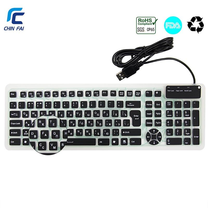 Russisk / engelsk Layout 107 Taster Silent Silikon Foldable Tastatur Vanntett USB Wired Bærbart Tastatur for Tablet PC Vinduer