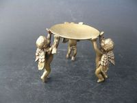 Collectible Chinese Handwork Bronze Carved 3 Angel statue Oil Lamp Candlestick Lampstand Plate dish