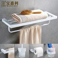 Elegant White 304 Stainless Steel Bathroom Hardware Set Toothbrush Holder Paper Holder Towel Bar Bathroom Accessorie