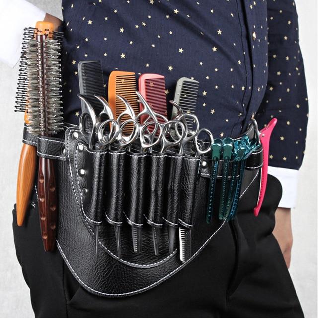 PU Leather Holder Bag for Barber Shop Scissors Clips Combs Hairdressing Salon Tool Holster Pouch Case with Waist Shoulder Belt