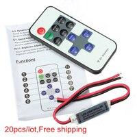 20pcs/lot LED Dimmer DC 5V 12V 24v 11Key Remote Controller For LED Strip 5050 3528 2835 5630 Control