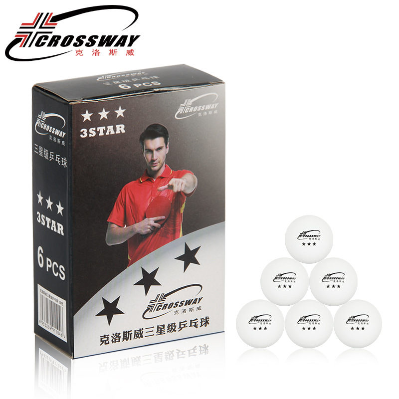 CROSSWAY 6Pcs/Box Ping Pong Balls White Orange Professional 3 Star Seamless  40+ Poly Plastic Table Tennis Balls Material
