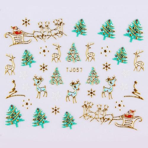 24pcs Nail Art 3d Christmas Stickers Gold Silver Metal Christmas