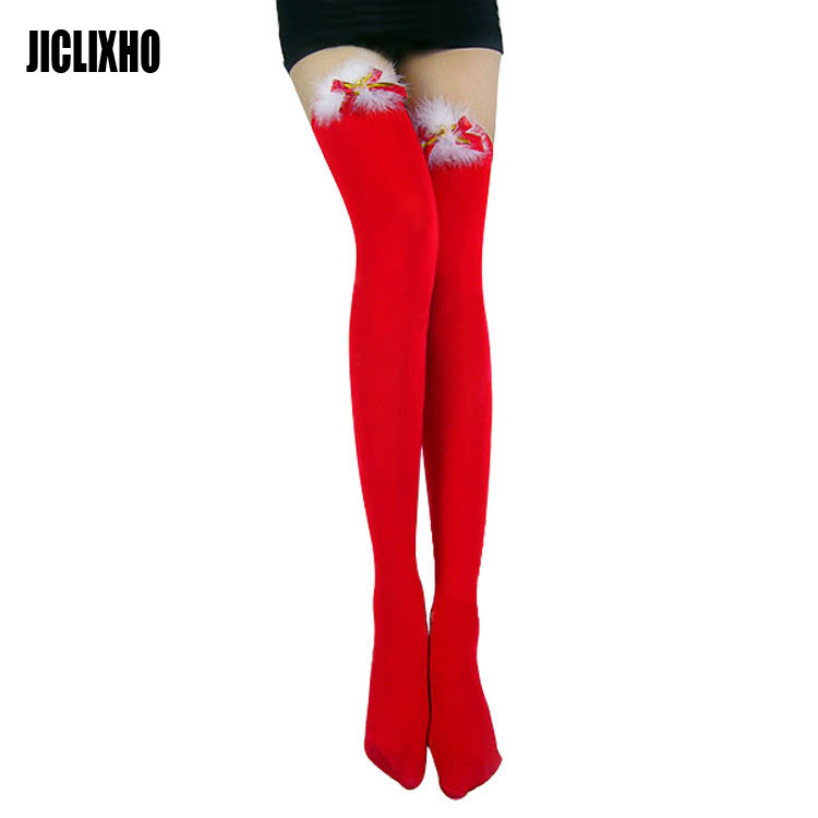 Women Lady Sexy Christmas Pantyhose Sheer Over Knee Stocking Thigh High Figured Hose With Bells Hosiety Tights Xmas