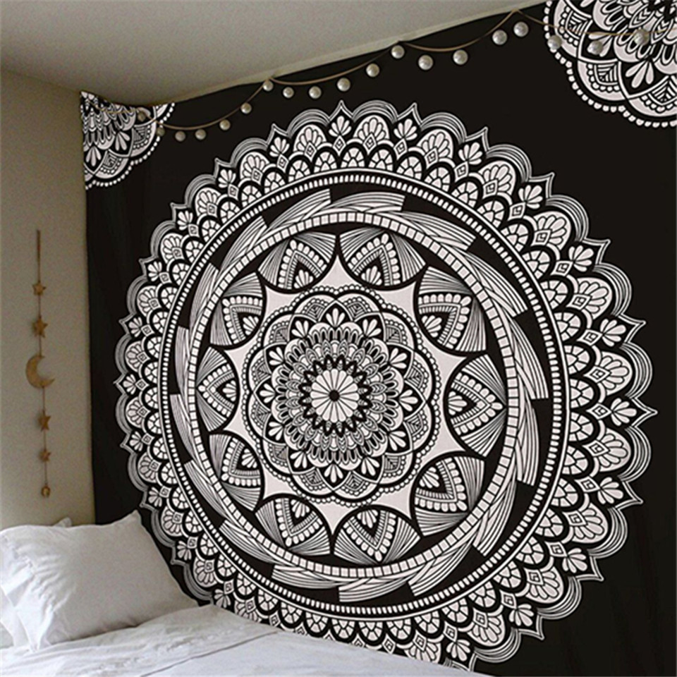 Cilected New Launched Mandala Hanging Wall Tapestry Geometric Gears Hippie Tapestry Throw Bedspread Home Decor Wall Art