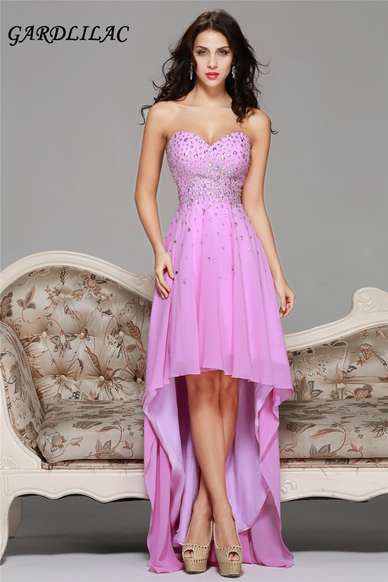 chiffon sweetheart beading off the shoulder  high-low hot pink long evening dress backless evenning party dress