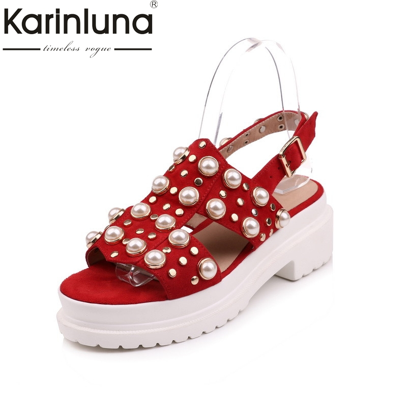 Karinluna 2018 Summer Brand Red Natural Kid Suede Platform Sandals Bead Decoration Shoes Woman High Heels Beach Casual Shoe phyanic 2017 gladiator sandals gold silver shoes woman summer platform wedges glitters creepers casual women shoes phy3323