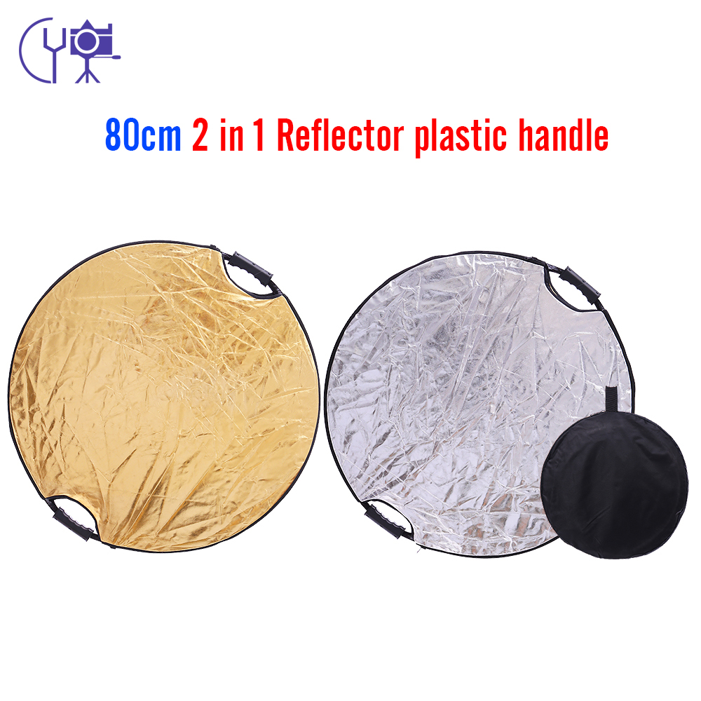 CY 32 80CM 2 in 1 Round Portable Collapsible silver+gold reflector Disc Light Photographic Lighting Reflector with Handle Bar