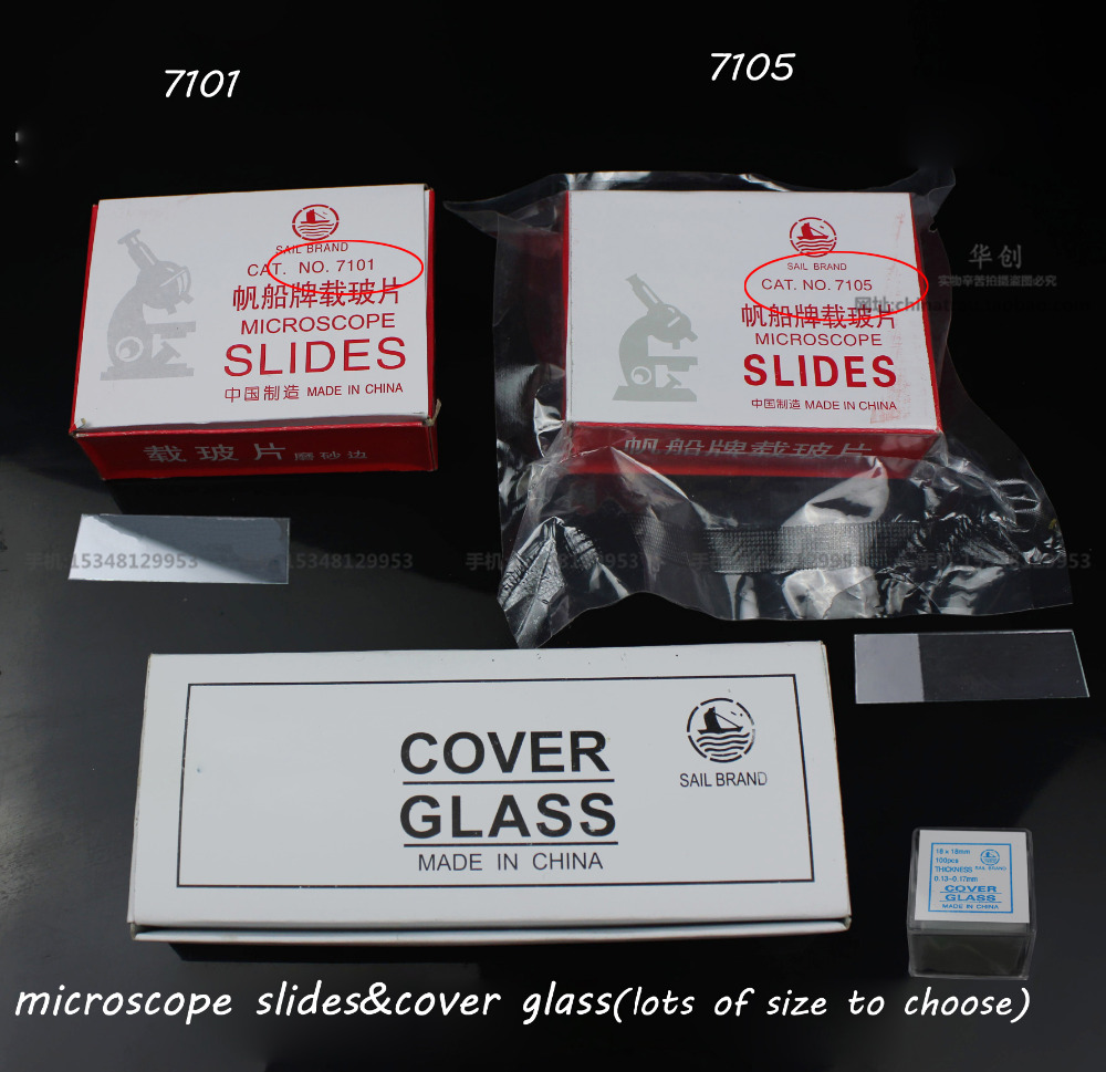 7101 7105 Medical biology research use microscope slides cover glass Slips 300pcs/box set lab use Biochemical test material tool cell biology and genetics prepared slides