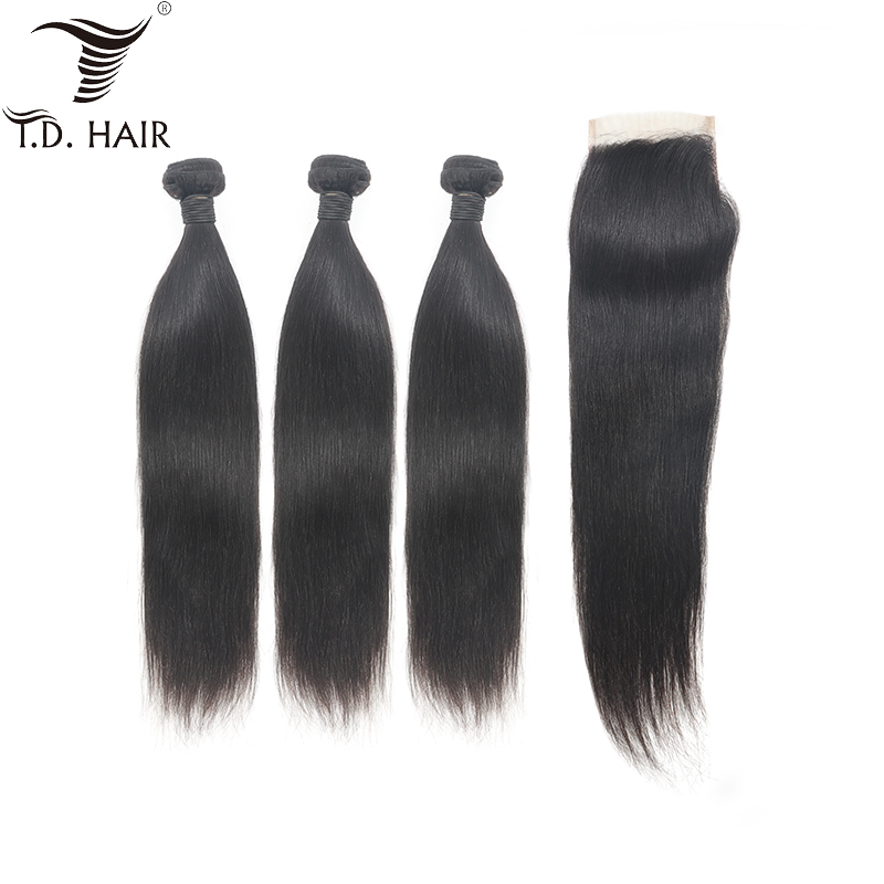 TD Hair 100% Human Grade 8A Non-remy Brazilian Weave Weaving Straight Bundles With 4*4 Transparent Lace Closure 130% Density