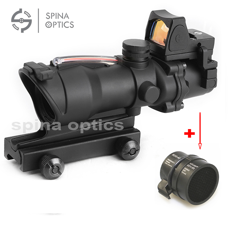 Tactical Airsoft ACOG 4X32 Sight Scope Real Red Fiber Source Red Illuminated Rifle Scope w/ RMR Micro Red Dot цена
