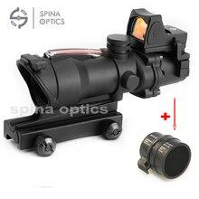 Тактически Trijicon Airsoft ACOG 4X32 Sight Scope Истински червен източник на влакна Червен светлинен пушка с RMR Micro Red Dot
