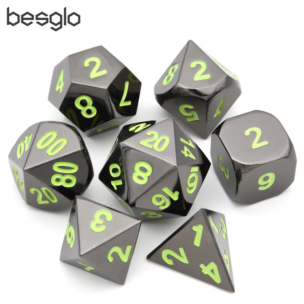 Black Chrome Polyhedral Metal Dice Pack Of 7 With Black Drawstring Pouch For Dungeons And Dragons RPG MTG Board Games