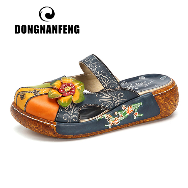 DONGNANFENG Women Female Mother Ladies Genuine Leather Flower Shoes Sandals Slippers Outsize Summer Ethnic Plus Size 41 42 SFY-1