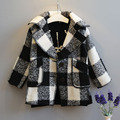 new 2015 autumn winter fashion black and white warm girl plaid Blends coat suit 2~7 age infantil girls clothes kids Wool jacket