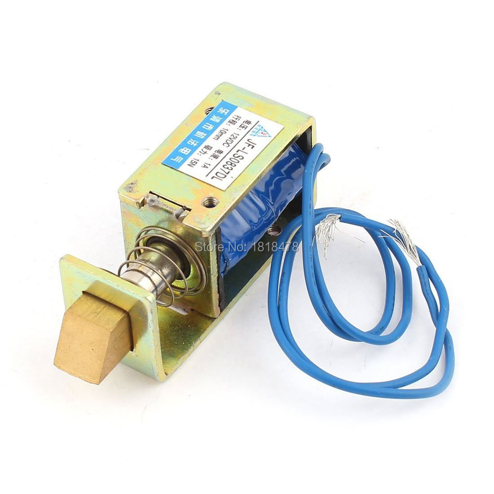 цена на JF-S0837DL DC 12V 1A 10mm Stroke 15N Force Open Frame Type Solenoid for Electric Door Lock