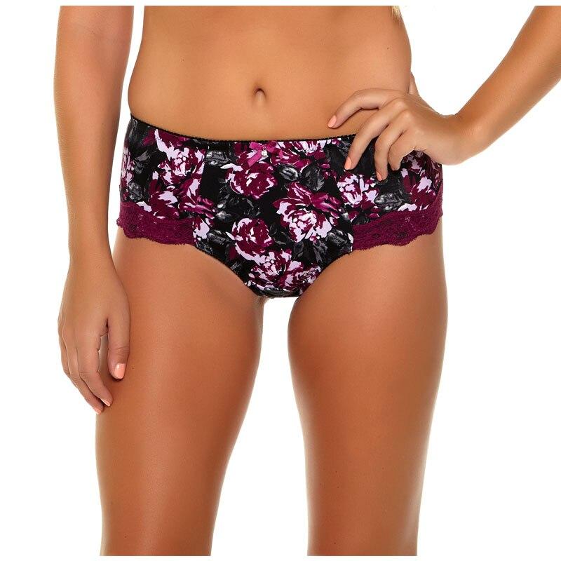 953 Underkläder Kvinnors trosor Ren bomull crotch Modal 6 färger Blommigt tryck Stor storlek XL / XXL / XXXL / 4XL / 5XL / 6XL / 7XL High-Rise Style