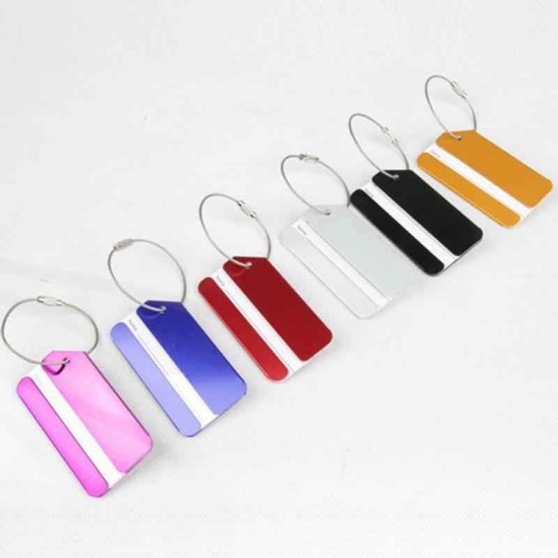 Fashion 1 Pc Aluminium Metal Travel Luggage Baggage Suitcase Address Tags Label Holder Accessories 7 Colors Wholesale