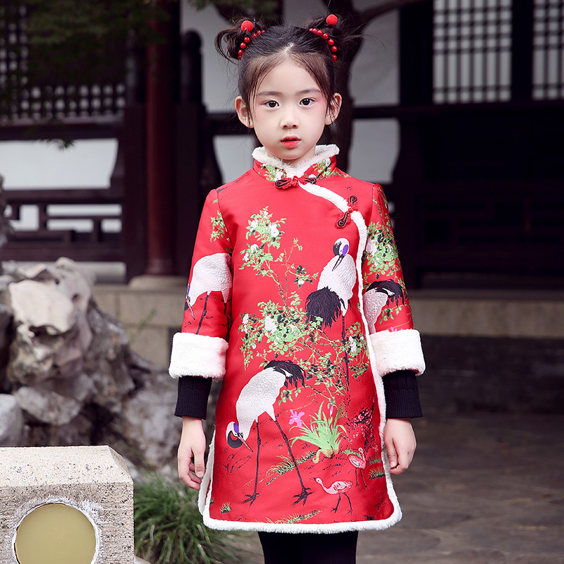 WL.MONSOON 2018 Cheongsam dress winter new girl red dress red top crane brocade Thickening dress 3-12 year аксессуар чехол для huawei honor 7 aksberry gold