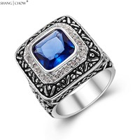 2017 Vintage Charm Jewelry Blue Quartz Stone 925 Sterling Silver Ring For Man Casual Clothes Accessories