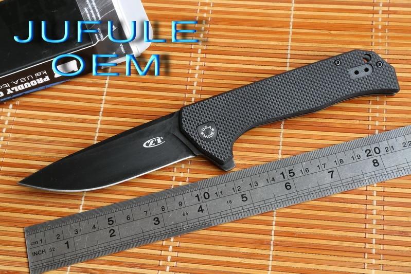 JUFULE OEM ZT 0804 ball bearing Folding Knife steel G10 Titanium plating Handle 204P Camping Hunt
