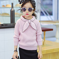Girls Sweaters Kids Clothing 2016 Spring&Autumn Bowknot Soild Knit Pullover Korean Girls Long Sleeve Baby Sweater 2-7 Years Old