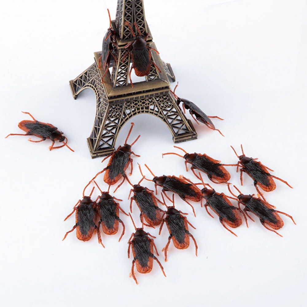 10pcs/lot Prank Funny Trick Joke Toys Special Lifelike Model Simulation Fake Rubber Cockroach Cock Roach Bug Roaches Toy