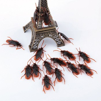 10pcs/lot Prank Funny Trick Joke Toys Special Lifelike Model Simulation Fake Rubber Cockroach Cock Roach Bug Roaches Toy фото