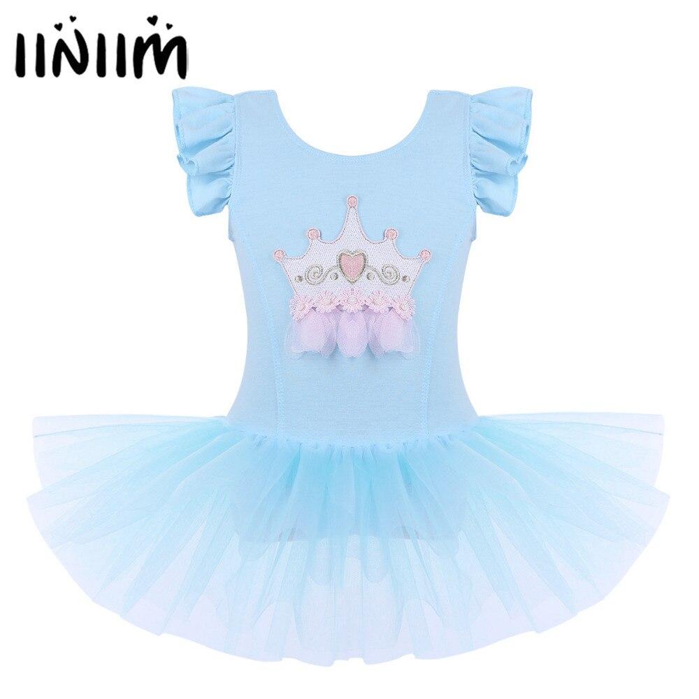iiniim 2-8 Years Kids Dancewear Girls Mesh Ruffled Sleeves Crown Applique Ballet Dance Gymnastics Leotard Tutu Dress Costumes
