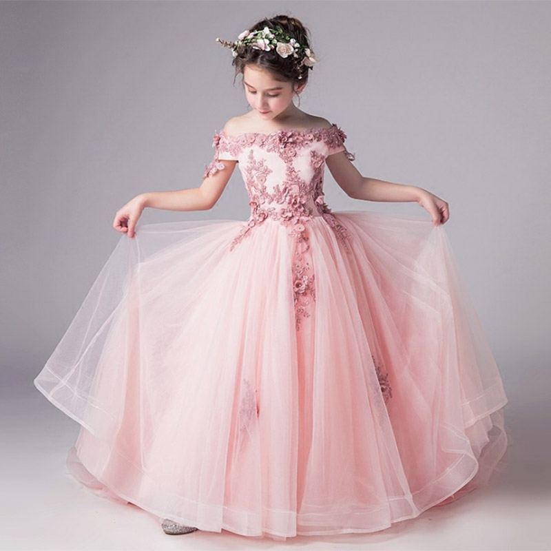 High Quality One-length Collar Long Princess Evening Wedding Girl Dresses For Kids Dress First Communion Dress Baby Costume