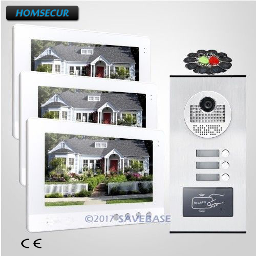 HOMSECUR 10.1 LCD Video Door Entry Intercom Kit with Outdoor Monitoring for 3 Apartment