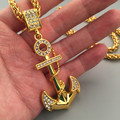 Vintage Austrian Crystal Navy Anchor Pendant Necklace Women /Men Jewelry  Real Yellow Gold Plated European Style Jewelry