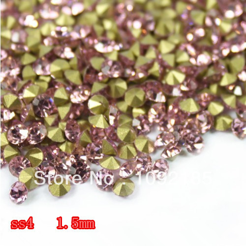 SS4 14400Pieces 100Gross Point Back Rhinestone Light Rose Color Point Back Chaton Free Shipping степлер мебельный gross 41001