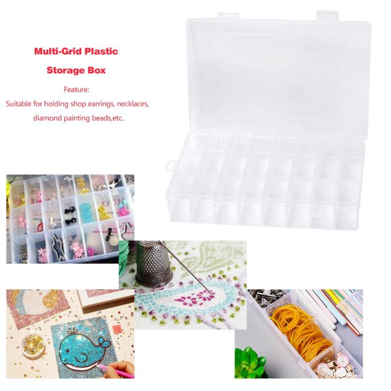 Plastic Jewelry Art Storage Box Multi-grid Case Beads Container Separate Slots Nail Storage Box Art Tools Daimond Painting Box image