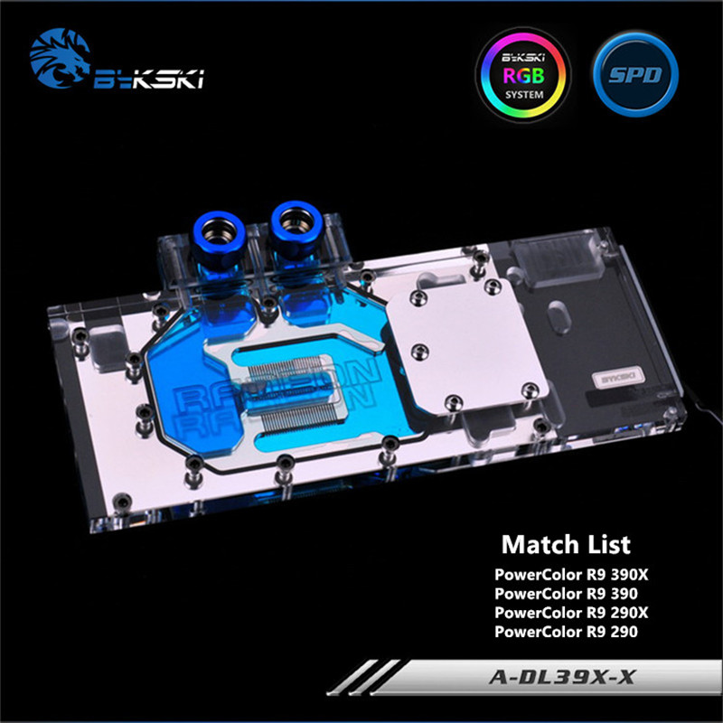 Bykski Full Coverage GPU Water Block For PowerColor R9 390X 290X Graphics Card A-DL39X-X цена