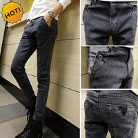 New 2017 Spring Autumn Fashion Skinny Jeans Men Grey Pencil Pants Demin Hip Hop BOY Leg
