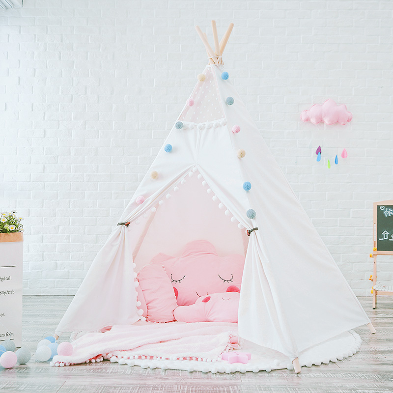 Plain White Pom Poms Teepee Childrens Teepees Canvas Teepee Tent Kids Tipi red chevron canvas dog tent house pet teepee tipi dog tee pee cat teepee