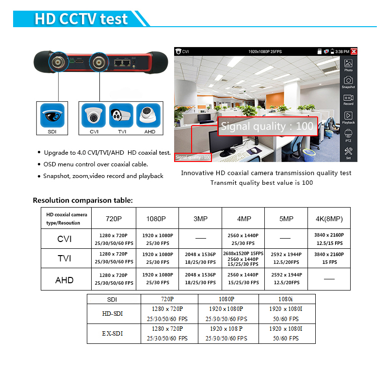New IP Tester Touch screen Analog AHD CVI TVI SDI IP camera cctv Tester Monitor H.265 4K IP Tester 8MP TVI CVI IP Tester