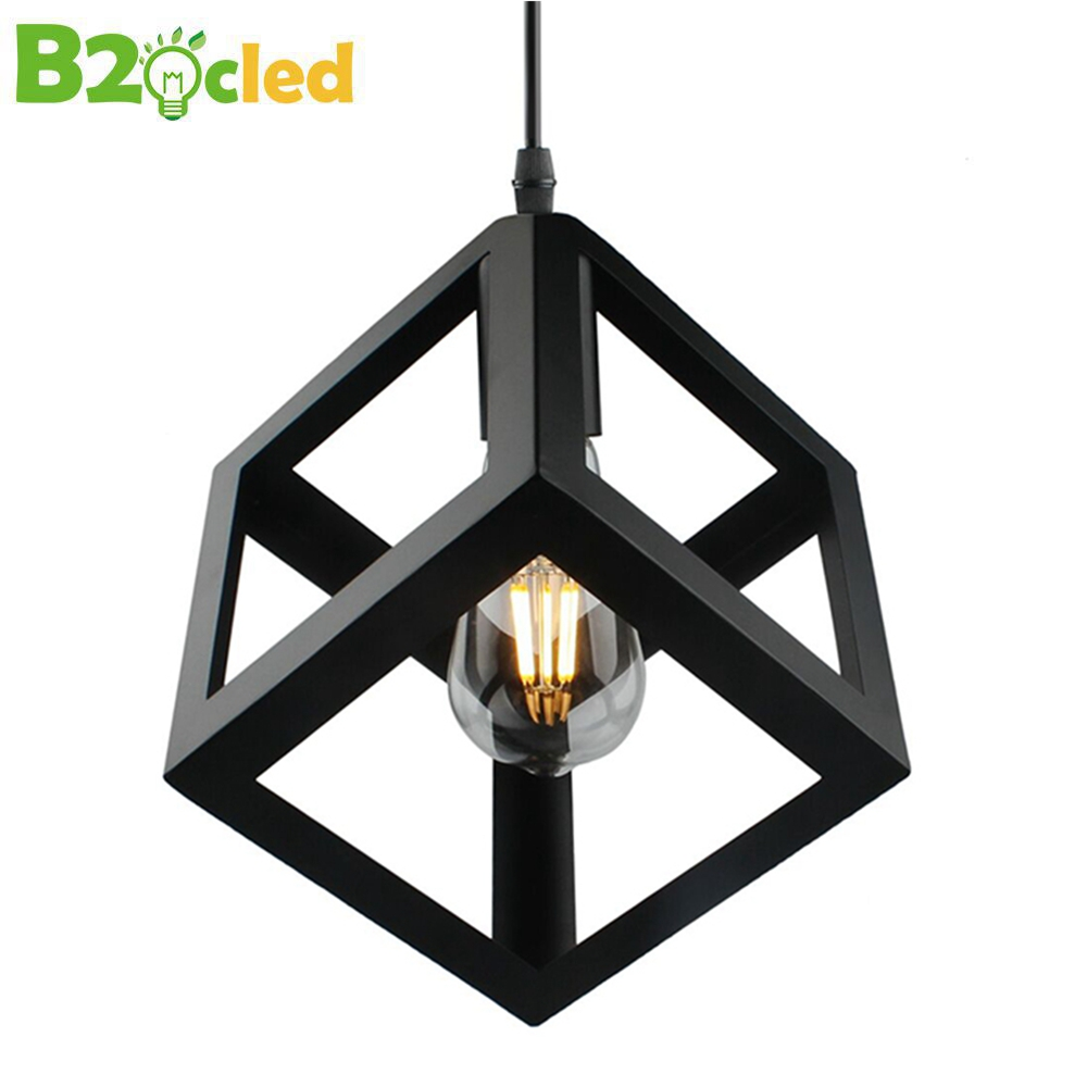 B2OCLED Pendant light creative Vintage Style LED lamp square triangular iron lampshade loft lamp droplight for home decoration iwhd loft style creative retro wheels droplight edison industrial vintage pendant light fixtures iron led hanging lamp lighting