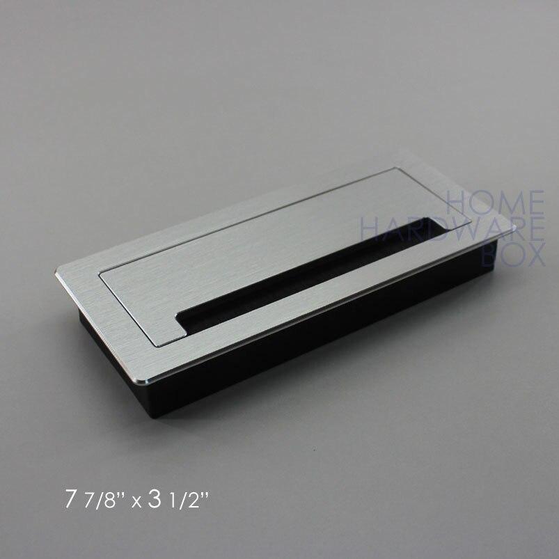 200x90 мм алюминиевый стол проводного доступа втулка атлас прямоугольник стол верхнее отверстие откидная крышка щетки