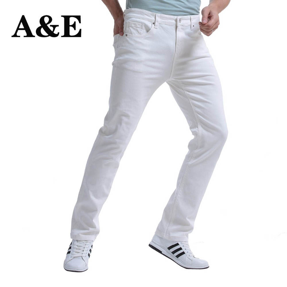 Alice & Elmer Men's Fashion Slim Fit Straight Jeans Summer Casual Pants Denim Trousers Male Brand Designer 98% Pure Cotton