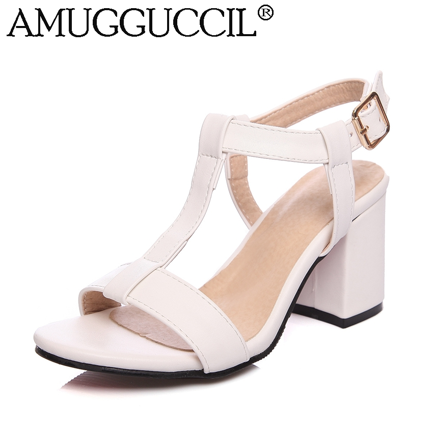 6b8bafe0568ca9 REAVE CAT Latest Female Mid heels sandals Womens shoes Summer Big size 34-46  Causal Metal ...