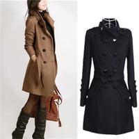 Black collar warm winter double breasted coat women's long sleeved long coat collar coat women's casual autumn 2018 black jacket