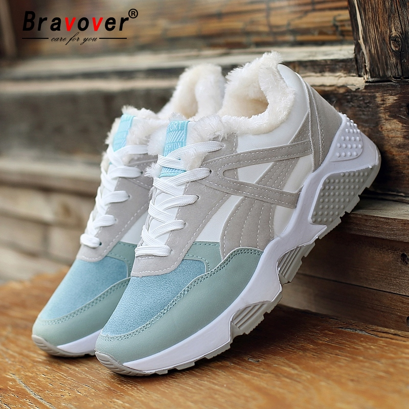 Bravover New Winter Women Fashion Casual Shoes 2018 Flock