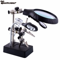 MG16129-C Welding Magnifying Glass Clamp 5 LED Auxiliary Clip Magnifier Hand Soldering Solder Iron Stand Holder Station Magnifiers