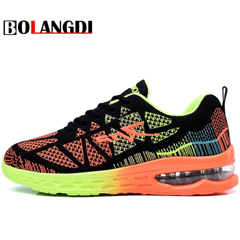 BOLANGDI Outdoor Sports Men And Women Air Cushion Running Shoes Summer New Arrivals Breathable Cozy Brand Mens Sneakers Shoes summer breathable air cushion fly line sports women running shoes shock absorption increase tourism shoes spring female sneakers
