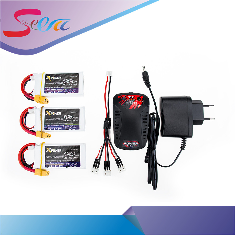 3PCS Xpower RC Drone Bateria 7.4V 1500mAh XT60/T Li-po 2S Batteries With Fast Charger 3 in1 Cable For Helicopters Battery VS VOK