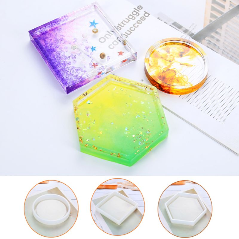 Silicone Mold DIY Cup Mat Pad Handmade Molds Crafts Epoxy Resin Geometric Shape Hexagonal Square Round Thermal Insulation