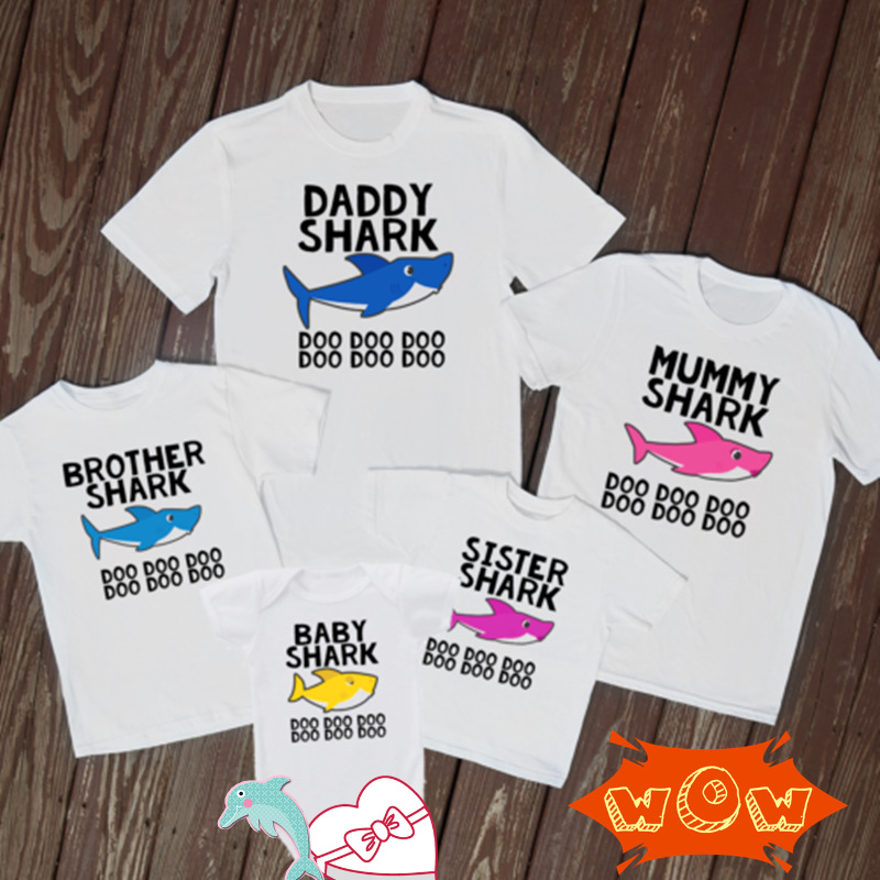 Baby Shark Doo Mummy Daddy Print   T  -  shirts   2019 Family Harajuku Lovely   T     shirt   Daddy Baby Clothes Party Funny Gift Tee