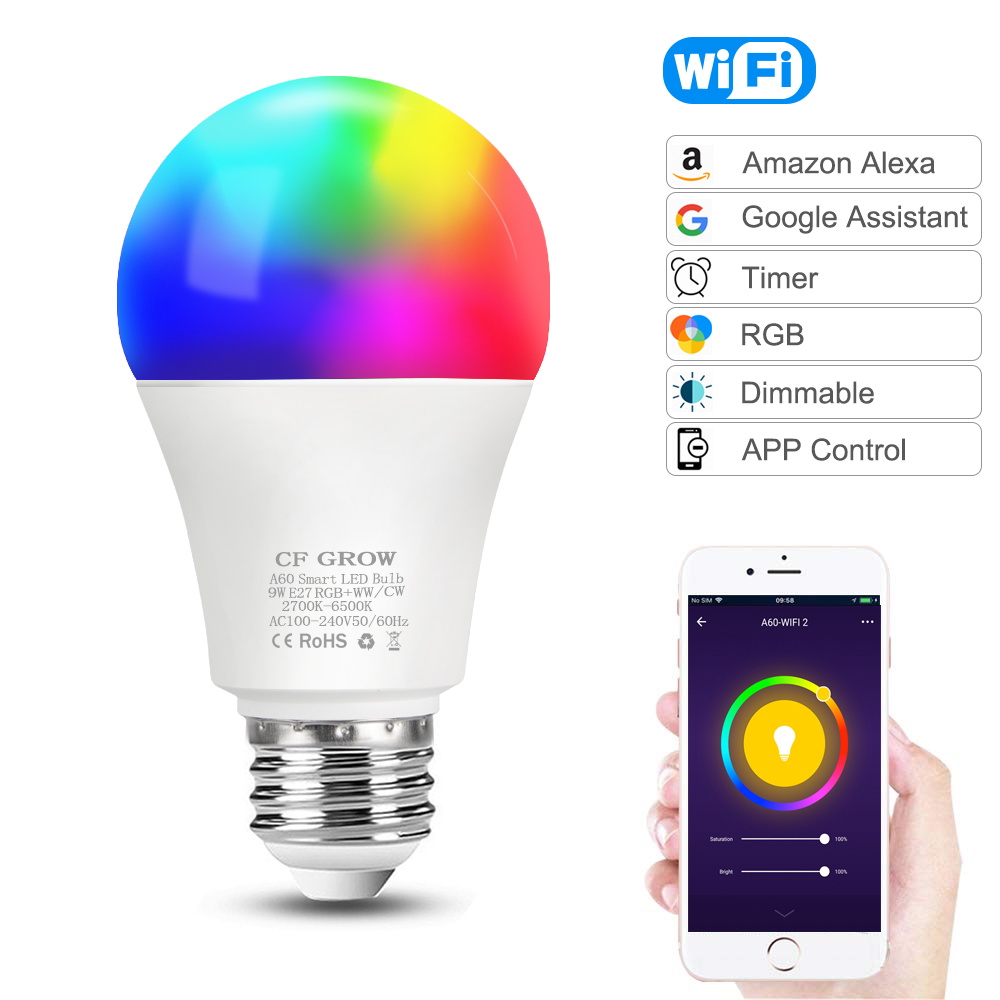 WiFi Smart Light LED Bulb E27 8W 9W 10W 12W A60 PIR Motion Sensor LED Night Bulb Lamp For Home Hallway Garden Lighting 220V